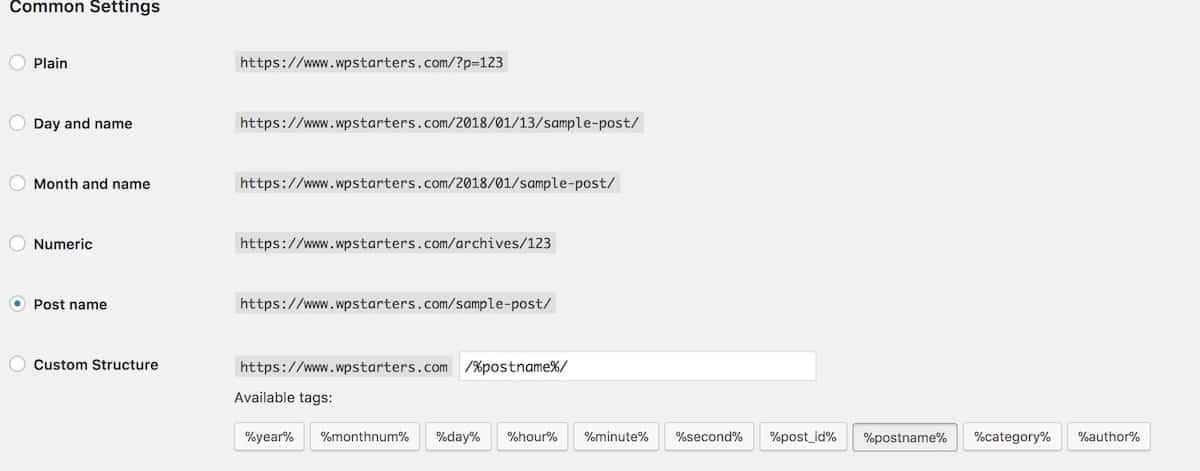 WordPress Permalinks Configuration
