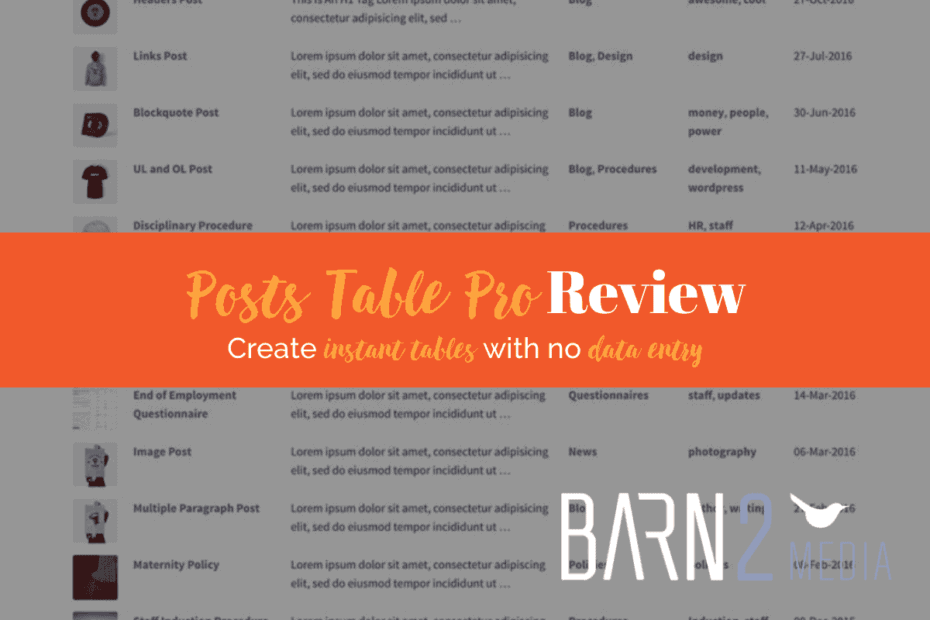 Posts Table Pro Review