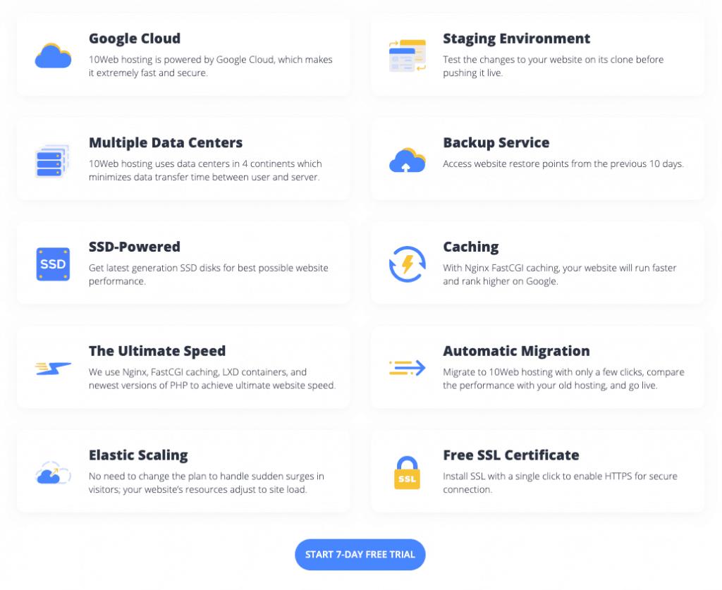 10Web's Google Cloud Managed WordPress Hosting