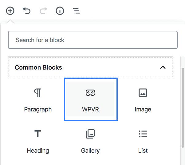 WPVR comes with native Gutenberg blocks