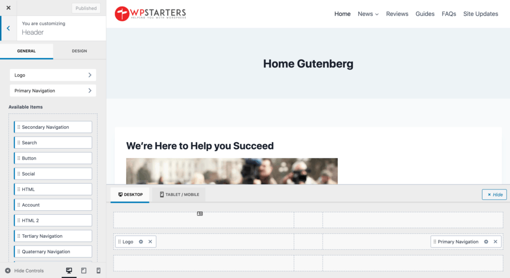 kadence theme installed in WordPress site